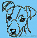 Jack Russell Terrier Portrait #1 - Vodmochka Machine Embroidery Design Picture - Click to Enlarge