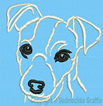 Jack Russell Terrier Portrait #1 White - Vodmochka Machine Embroidery Design Picture - Click to Enlarge