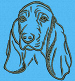 Basset Hound Portrait #1 - Vodmochka Mchine Embroidery Design Picture - Click to Enlarge