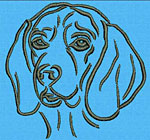 Beagle Portrait #1 - Vodmochka Machine Embroidery Design Picture - Click to Enlarge