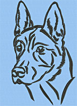 Belgian Malinois Portrait #1 - Vodmochka Machine Embroidery Design Picture - Click to Enlarge