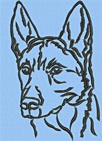Belgian Malinois Portrait #2 - Vodmochka Machine Embroidery Design Picture - Click to Enlarge