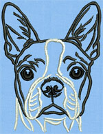 Boston Terrier Portrait #1 - Vodmochka Mchine Embroidery Design Picture - Click to Enlarge