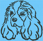 Cavalier King Charles Spaniel Portrait #1 - Vodmochka Machine Embroidery Design Picture - Click to Enlarge