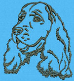 Cocker Spaniel Portrait #1 - Vodmochka Machine Embroidery Design Picture - Click to Enlarge