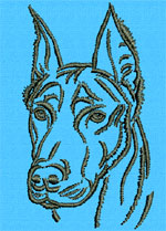 Doberman Pincher Portrait #1 - Vodmochka Machine Embroidery Design Picture - Click to Enlarge