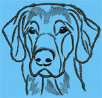 Flat-Coated Retriever Portrait #1 Color #1 - Vodmochka Machine Embroidery Design Picture - Click to Enlarge