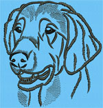 Flat-Coated Retriever Portrait #2 Color #1 - Vodmochka Machine Embroidery Design Picture - Click to Enlarge