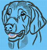 Flat-Coated Retriever Portrait #2 Color #2 - Vodmochka Machine Embroidery Design Picture - Click to Enlarge