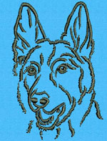 German Shepherd Portrait #1 - Vodmochka Machine Embroidery Design Picture - Click to Enlarge