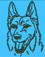 German Shepherd Portrait #2 - Vodmochka Machine Embroidery Design Picture - Click to Enlarge