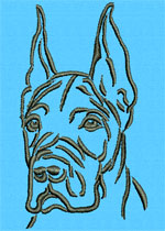 Great Dane Portrait #1 - Vodmochka Machine Embroidery Design Picture - Click to Enlarge