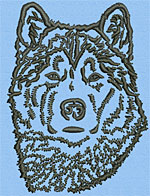 Malamut Dog Portrait #1 - Vodmochka Machine Embroidery Design Picture - Click to Enlarge