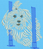 Maltese Agility #3 - Vodmochka Machine Embroidery Design Picture - Click to Enlarge