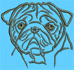 Pug Portrait #1 - Vodmochka Machine Embroidery Design Picture - Click to Enlarge