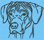 Rhodesian Ridgeback Portrait #1 Color #1 - Vodmochka Machine Embroidery Design Picture - Click to Enlarge