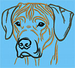 Rhodesian Ridgeback Portrait #1 Color #2 - Vodmochka Machine Embroidery Design Picture - Click to Enlarge
