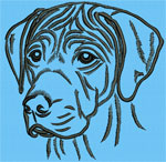Rhodesian Ridgeback Portrait #2 Color #1 - Vodmochka Machine Embroidery Design Picture - Click to Enlarge