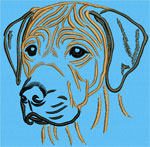 Rhodesian Ridgeback Portrait #2 Color #2 - Vodmochka Machine Embroidery Design Picture - Click to Enlarge
