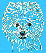 West Highland White Terrier Portrait #1 - Vodmochka Machine Embroidery Design Picture - Click to Enlarge