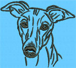 Whippet Portrait #1 - Vodmochka Machine Embroidery Design Picture - Click to Enlarge