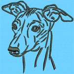 Whippet Portrait #2 - Vodmochka Machine Embroidery Design Picture - Click to Enlarge