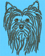 Yorkshire Terrier Portrait #1 - Vodmochka Machine Embroidery Design Picture - Click to Enlarge
