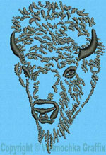Bison Portrait #1 - Vodmochka Embroidery Design Picture - Click to Enlarge
