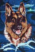 German Shepherd - Embroidery Portrait Sample - Click to Enlarge