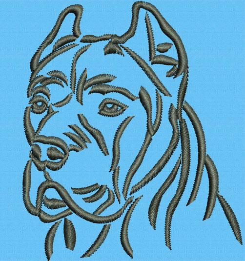 Cane Corso Italian Mastiff Portrait Embroidery Design Picture